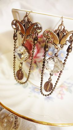 Assemblage Earrings Reliqious Medal Great by BerthaLouiseDesigns, $28.95