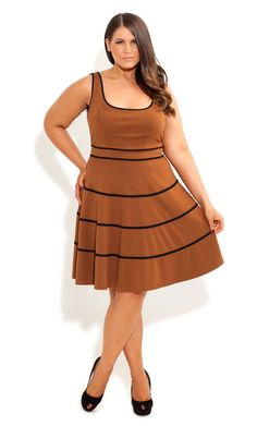 Plus Size Swing Skater Dress in toffee - City Chic - City Chic