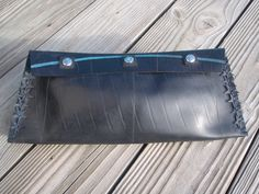 Rubber tire clutch handbag with hand cut stars by rubberpieces