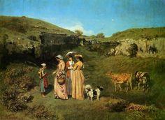 'die jungen damen von dem dorf', öl auf leinwand von Gustave Courbet (1819-1877, France)