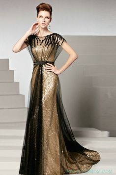 High Neck Black And Gold Sequin Formal Gown 2016,Formal Dresses-Formal dresses,Plus Size Formal Dresses, Formal Dresses For Women
