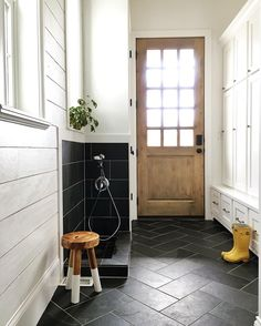 Mudroom that works hard for you. Love the idea of a boot shower!