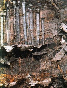 Anselm Kiefer  The texture in this painting is incredible, it is almost like the paint is peeling off of the canvas and revealing the trees, almost like paint bark.