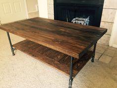Mesa de centro de tubo de madera rústico por GrandLetters en Etsy