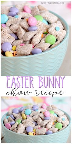 Easter Bunny Chow Recipe- cute dessert treat idea to make for an easter party. Easy puppy chow muddy buddies recipe for easter. Pastel color dessert. Bowl of treats to set out.
