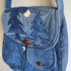 Vintage Denim Purse Handbag, Shoulder Bag. Denim Patchwork Tree & Moon w/ Gingham Fabric Inside Blue Handmade Quilted Repurposed Jean Pocket