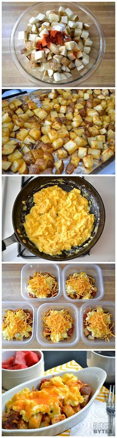 healthy meals food recipes diiner cooking Country Breakfast Bowls -- make ahead and freeze or leave in refrigerator to use within days Country Breakfast, Breakfast Desayunos, Breakfast Dishes, Breakfast Recipes, Breakfast Sandwiches, Breakfast Casserole, Frozen Breakfast, School Breakfast, Meal Prep Breakfast