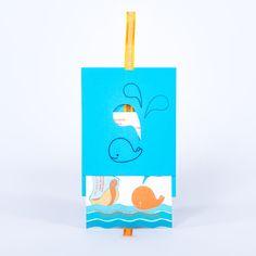 geboortekaartje Lars: blauw, zee, vicking schip, walvis, druppels