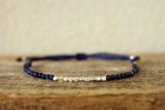 Blue and square beads bracelet, blue jade bracelet, layering bracelet, everyday bracelet, dainty bracelet, adjustable bracelet, by Amoreecolore on Etsy