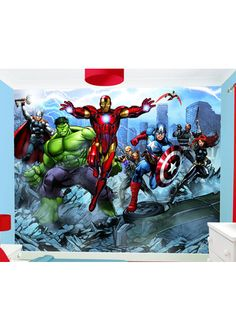 1000 images about marvel comic bedroom accessories on for Avengers wall mural uk