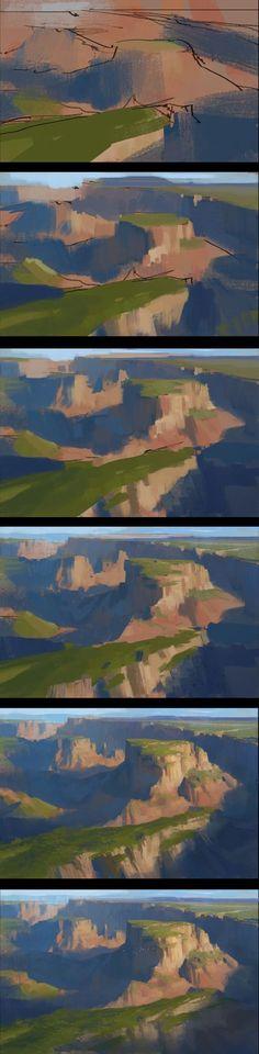 ArtStation - Three landscape Paintings and process share, Dawnpu at Art vision studio Digital Painting Tutorials, Digital Art Tutorial, Art Tutorials, Digital Paintings, Process Art, Painting Process, Landscape Art, Landscape Paintings, Bg Design