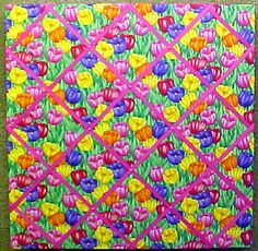 "Decorative Bulletin Boards and Decorative Push Pins. 24"" x 24"" Tulips fabric covered cork bulletin board with criss cross ribbons"