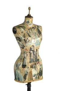 C1930's French decoupage tailors dummy, period conversion to lampstand