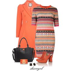 """""""Striped Sweater Dress And A Studded Tote"""" by sherryvl on Polyvore"""