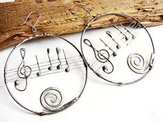 Musical circle earrigs stained glass tiffany by GepArtJewellery, $34.00