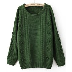 Green Round Neck Long Sleeve Pom Embellished Pullovers Sweater ($32) ❤ liked on Polyvore