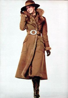Christian Dior coat 1970  Belted Trimmed Coat  Fur, Technical Fabrications, Classic Winter Look, Belted at the waist, Classic Silhouette