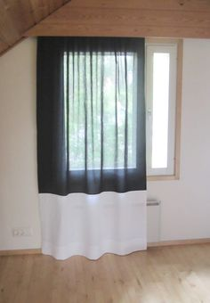 Tee-se-itse-naisen sisustusblogi: Too Short Curtains Lengthened With The Addition Of A White Linen Fabric
