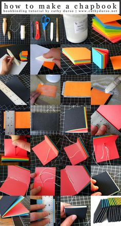 VISIT FOR MORE Ever want to know how to make your very own simple little notebook to jot things down? Well here is an image-based tutorial to make a chapbook! I used rainbow colored pages which makes it really fun, and I call these mini notebooks jotters. Notebook Diy, Handmade Notebook, Small Notebook, Book Crafts, Paper Crafts, Papier Diy, Handmade Books, Book Binding, Book Making
