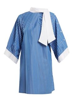 Maison Margiela Striped Tie-neck Cotton Shirtdress In Blue White Ankle Boots, Casual Formal Dresses, Cotton Shirt Dress, Margiela, Shirtdress, Bell Sleeve Top, Tie, Coat, Women