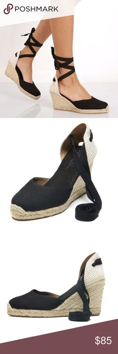 Tall Wedge Linen Wrap Pump Black linen espadrille wedges ONLY WORN ONCE Soludos Shoes Wedges
