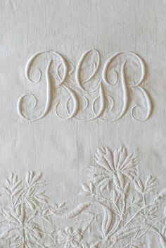 Numbers + Letters… Monogrammed Linens with Embroidery Embroidery Monogram, White Embroidery, Ribbon Embroidery, Cross Stitch Embroidery, Machine Embroidery, Embroidery Designs, Crazy Quilting, Sewing Crafts, Sewing Projects
