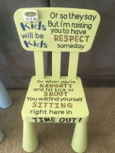 cute idea for a kids time out chair!