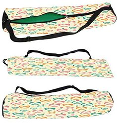 Snoogg Multicolor Hearts Cream Pattern Canvas Yoga Bag Peace Beautifully Crafted for Extra Wide Yoga Mat and Gym Mat up to a height of 186 x 63 x 0.6 cm 7000 Various Premium Designs Available.