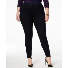 Hue Plus Size Curvy Denim Leggings ($44) ❤ liked on Polyvore featuring pants, leggings, midnight rinse, high waisted jean leggings, plus size white jeggings, plus size jeggings, plus size high waisted leggings and white high waisted leggings