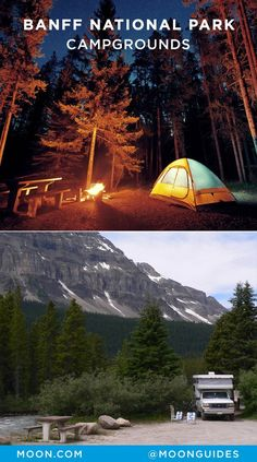 Camping in Banff National Park Within Alberta's Banff National Park, 13 campgrounds hold more than sites. This camping guide includes tent and RV campsites in and around Banff. Camping Guide, Camping And Hiking, Tent Camping, Campsite, Camping Hacks, Camping Outdoors, Camping Cabins, Adirondack Camping, Camping Stores