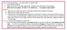 Matrice possible d'un projet Français/documentation, 5ème : poésie et enfance. Du copier-coller au copier-créer : séance3