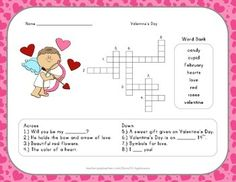 Valentines Day crossword puzzles  Valentines Day  Pinterest