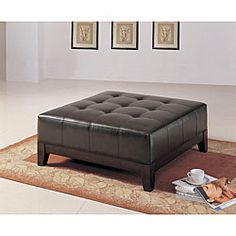 Overstock Bonded Leather Brown Soft-top Ottoman