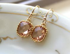 Dainty Champagne Blush Earrings Gold Plated - Peach Bridesmaid Earrings - Wedding Earrings - Champagne Wedding Jewelry - Bridal Earrings on Etsy, $18.00