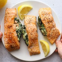 Stuffed salmon with spinach cream cheese filling tastes like a restaurant meal, but is so easy to make at home! Perfect for quick dinners and entertaining, this healthy seafood recipe is one of our favorite meals! Vegetarian Dinners, Healthy Dinner Recipes, Vegetarian Recipes, Cooking Recipes, Healthy Dinners, Spinach Recipes, Salmon Recipes, Fish Recipes, Best Seafood Recipes