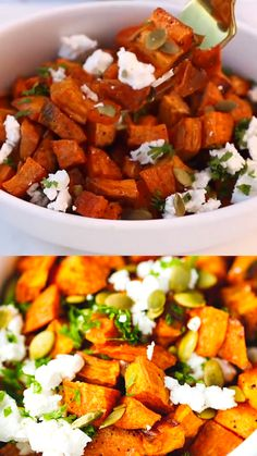 Roasted Sweet Potatoes With Feta Cheese And Pumpkin Seeds Recipe. Served As A Main Or Side Dish, Simple, Fast and Delicious. Sweet Potato Bbq, Sweet Potato Side Dish, Potato Side Dishes, Salad With Sweet Potato, Sweet Potato Recipes, Side Dishes Easy, Sweet Potato Mushroom Recipe, Cold Side Dishes, Feta Cheese Recipes