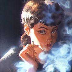 Rachel from Blade Runner, done in a unique style. I love the contrast of cinematic light and cartoony proportions.