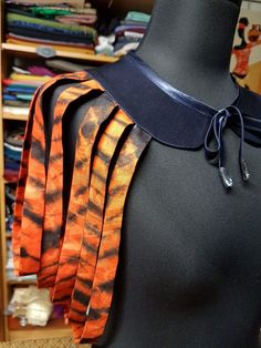 Collier inspiration châle en tissu africain WAX imprimé zèbre