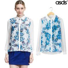 Spring Summer New 2014 Fashion Womens Casual Brand Chiffon Long Sleeve Lapel Floral Print Blouses Shirts Tops Blusas Femininas