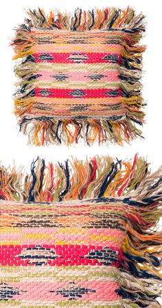 Explore a spectrum of styling opportunities with our Chimera Pillow. This rainbow-inspired chindi design is framed with fringe and constructed with a blend of cotton, jute, and wool textiles. Spot clea...  Find the Chimera Pillow, as seen in the 3 Ways to Get That Summer Mod Collection at http://dotandbo.com/collections/3-ways-to-get-that-summer-mod?utm_source=pinterest&utm_medium=organic&db_sku=121534
