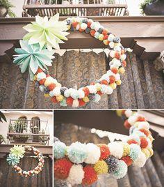 reason to celebrate   pom wreath http://asubtlerevelry.com/reason-to-celebrate-pom-wreath/