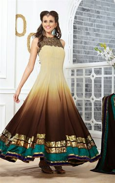 Picture of Exclusive Brown and Cream Fashion Designer Salwar Kameez