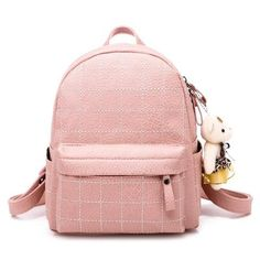802c79032002 soft pu leather women backpack for girls small Fashion plaid back pack  Female shoulder bag black