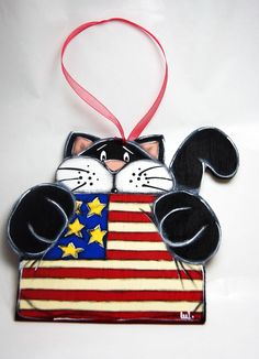 Black cat with american flag - Independence day - 4th of July de la boutique LULdesign sur Etsy