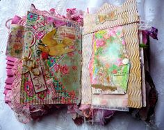 Fabric and paper - buttons, trims - mixed media journal