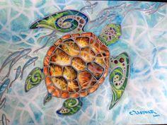 Tropical Sea Turtle Original 17 X 12 Honu Island Waters with silvery fish Original Mixed Media Watercolor Painting Surfer Art UssherArt