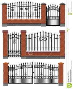 Gate, Fences With Bricks And Metal Lattice. - Download From Over 57 Million High Quality Stock Photos, Images, Vectors. Sign up for FREE today. Image: 26575467