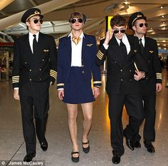 McFly turned up to switch on the Christmas lights at Heathrow Terminal 5 dressed as pilots. Well, all except Dougie who dressed as a stewardess.
