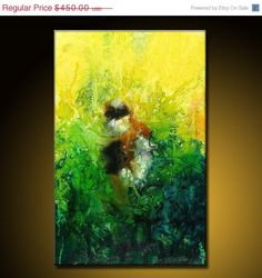 Abstract Painting ORIGINAL Modern Green by newwaveartgallery, $360.00
