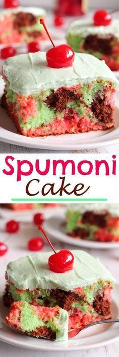 Spumoni Cake - Chocolate, Cherry and Pistachio Cake topped with creamy buttercream and maraschino cherries.